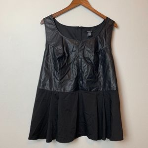 torrid Tops - Torrid Black Satin and Faux Leather Peplum Top